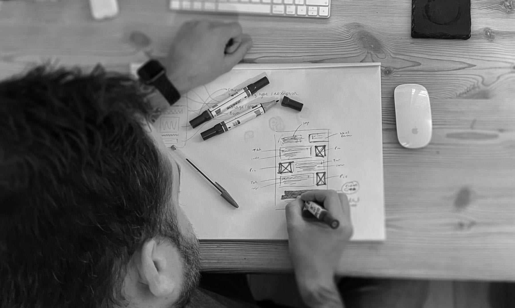 Designer sketching out a wireframe